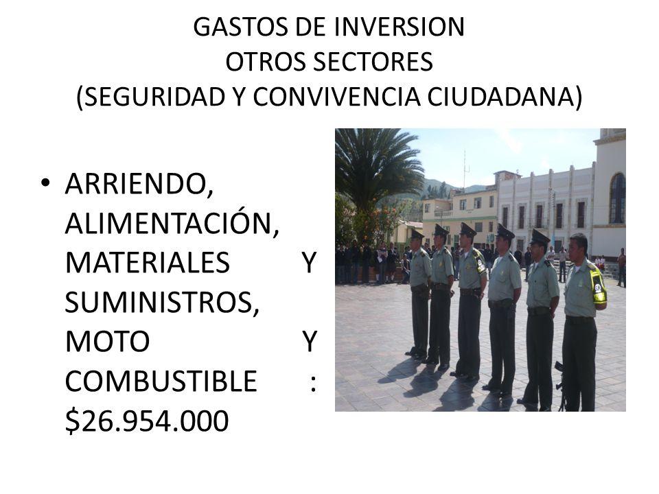GASTOS DE INVERSION OTROS SECTORES (SEGURIDAD Y CONVIVENCIA CIUDADANA) ARRIENDO, ALIMENTACIÓN, MATERIALES Y SUMINISTROS, MOTO Y COMBUSTIBLE : $26.954.