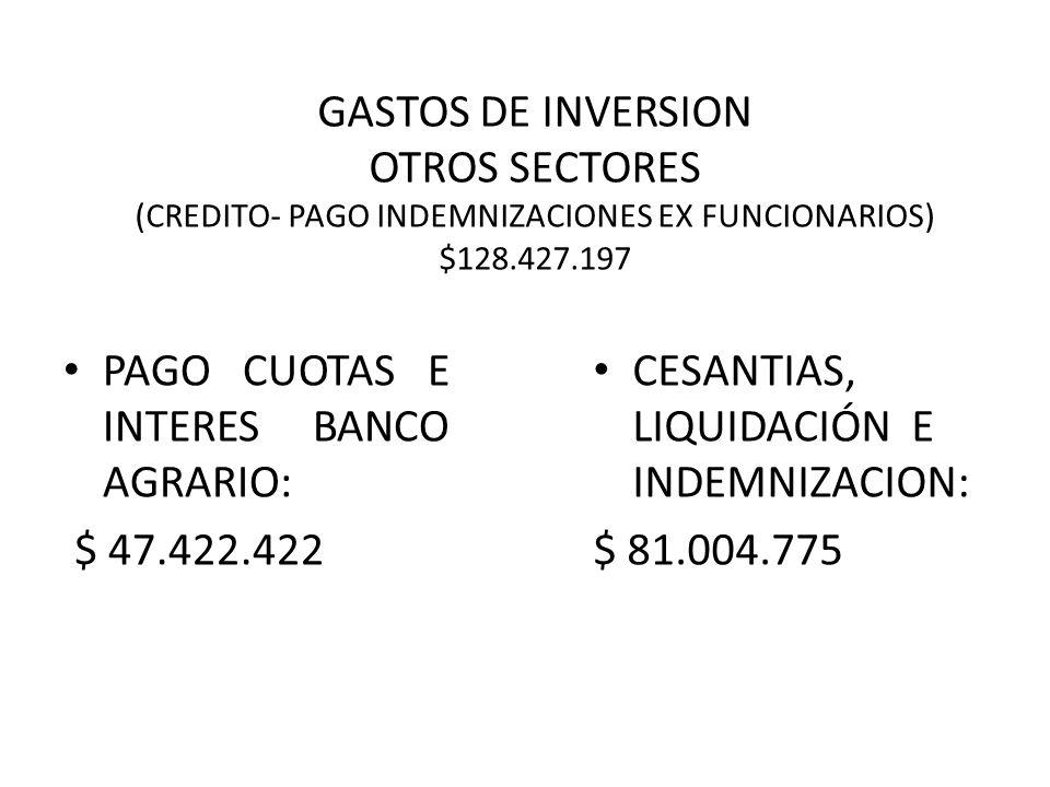 GASTOS DE INVERSION OTROS SECTORES (CREDITO- PAGO INDEMNIZACIONES EX FUNCIONARIOS) $128.427.197 PAGO CUOTAS E INTERES BANCO AGRARIO: $ 47.422.422 CESANTIAS, LIQUIDACIÓN E INDEMNIZACION: $ 81.004.775
