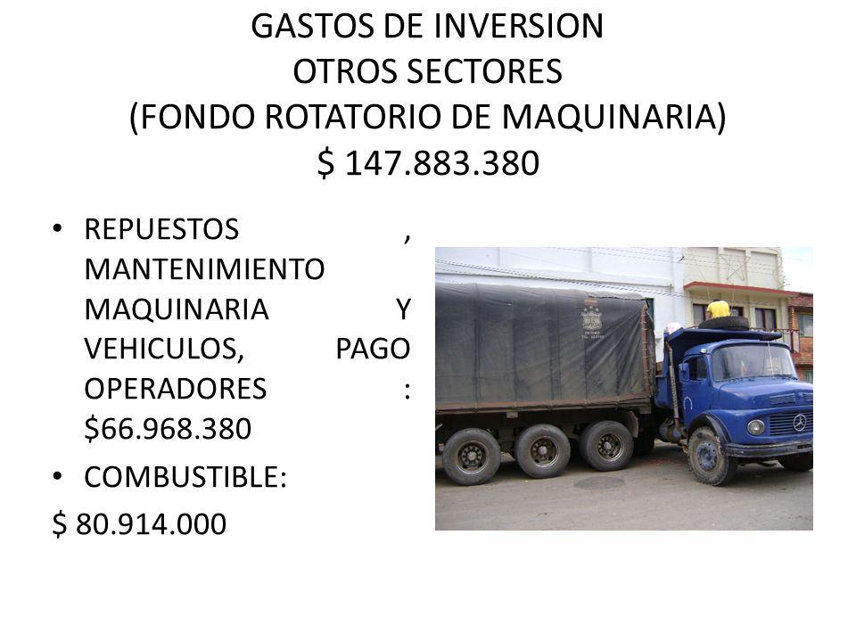 GASTOS DE INVERSION OTROS SECTORES (FONDO ROTATORIO DE MAQUINARIA) $ 147.883.380 REPUESTOS, MANTENIMIENTO MAQUINARIA Y VEHICULOS, PAGO OPERADORES : $66.968.380 COMBUSTIBLE: $ 80.914.000