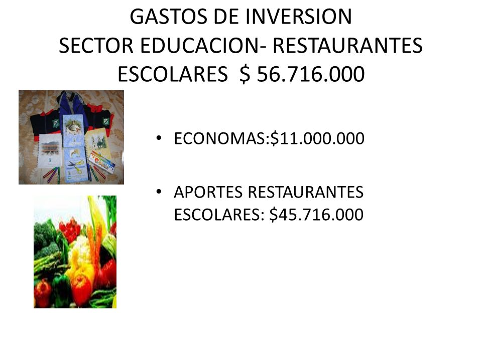 GASTOS DE INVERSION SECTOR EDUCACION- RESTAURANTES ESCOLARES $ 56.716.000 ECONOMAS:$11.000.000 APORTES RESTAURANTES ESCOLARES: $45.716.000