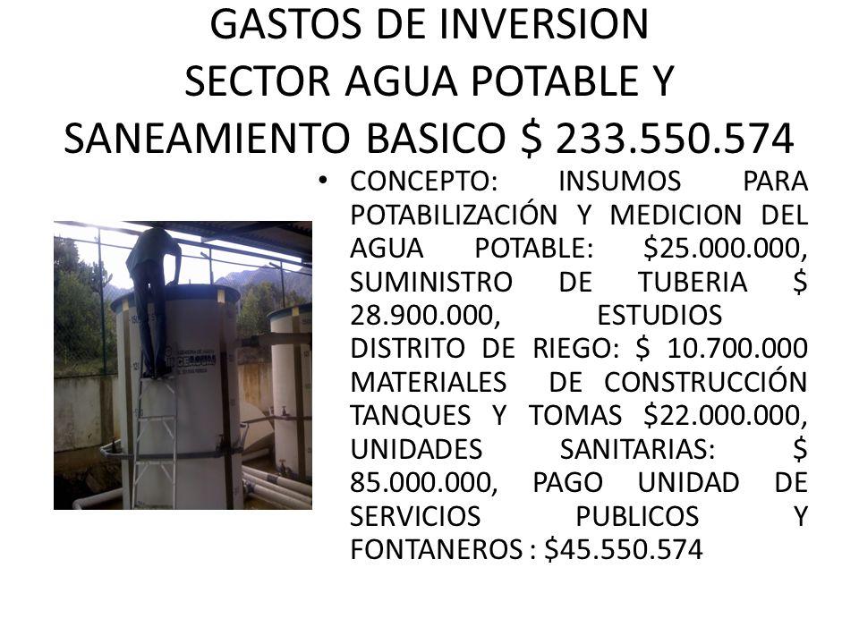 GASTOS DE INVERSION SECTOR AGUA POTABLE Y SANEAMIENTO BASICO $ 233.550.574 CONCEPTO: INSUMOS PARA POTABILIZACIÓN Y MEDICION DEL AGUA POTABLE: $25.000.