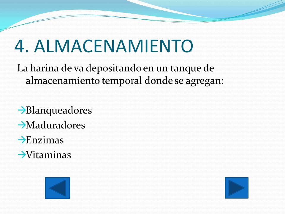 4. ALMACENAMIENTO La harina de va depositando en un tanque de almacenamiento temporal donde se agregan: Blanqueadores Maduradores Enzimas Vitaminas