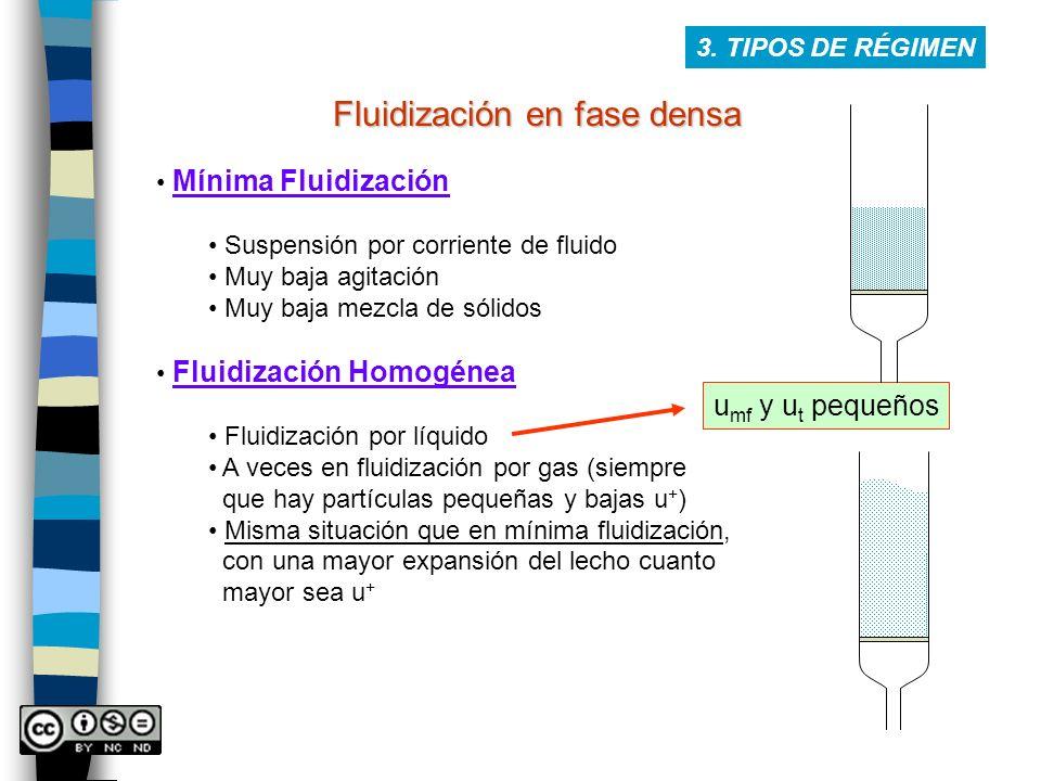 Fluidización en fase densa 3. TIPOS DE RÉGIMEN Mínima Fluidización Suspensión por corriente de fluido Muy baja agitación Muy baja mezcla de sólidos Fl