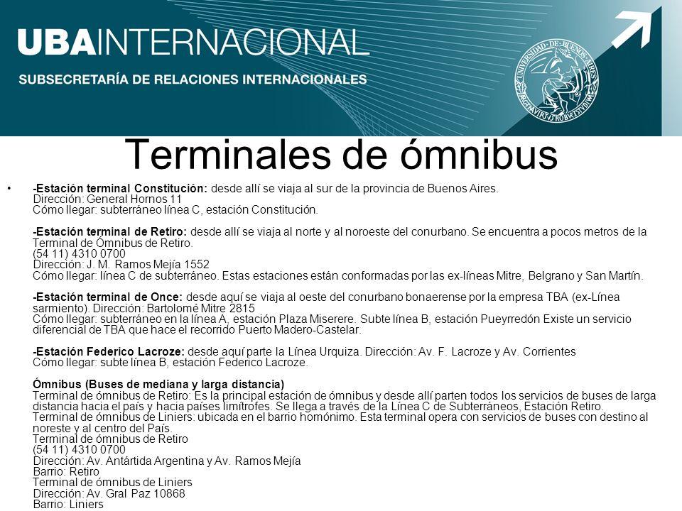 Terminales de ómnibus -Estación terminal Constitución: desde allí se viaja al sur de la provincia de Buenos Aires. Dirección: General Hornos 11 Cómo l