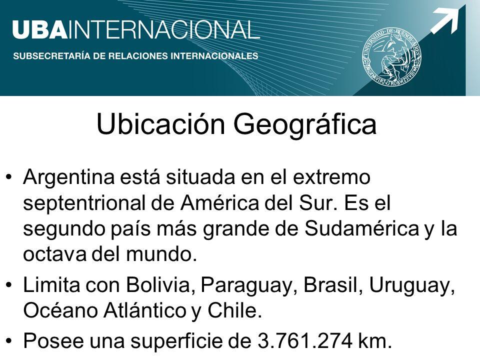 Ubicación Geográfica Argentina está situada en el extremo septentrional de América del Sur. Es el segundo país más grande de Sudamérica y la octava de