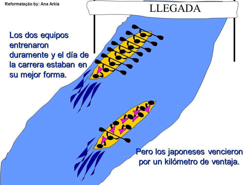 Reformatação by: Ana Arkia Una empresa española y una japonesa decidieron enfrentarse todos los años en una carrera de canoas con ocho hombres cada un