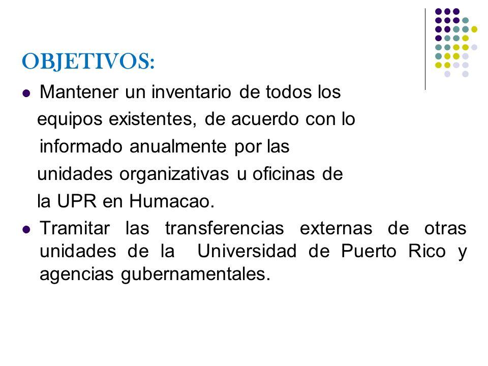 OBJETIVOS: Realizar trámites de acuerdo con la Reglamentación para efectuar donaciones, transferencias y cualquier transacción relacionada con el manejo y disposición de equipo de UPR - Humacao.