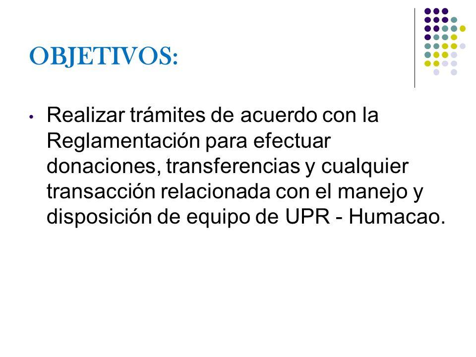 OBJETIVOS: Realizar trámites de acuerdo con la Reglamentación para efectuar donaciones, transferencias y cualquier transacción relacionada con el mane