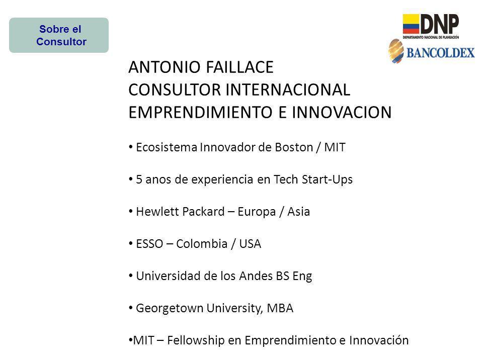 Monitor Entrepreneurship BenchMark Iniciative Areas de Politica con Mayor Impacto en Emprendimiento e Innovación -Encuestas en 22 Paises Norte America Europa Asia Medio Oriente Colombia (2011) -Correlacion estadistica entre los factores y el desempeño emprendedor e Innovador.