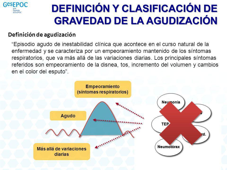 Episodio agudo de inestabilidad clínica que acontece en el curso natural de la enfermedad y se caracteriza por un empeoramiento mantenido de los sínto