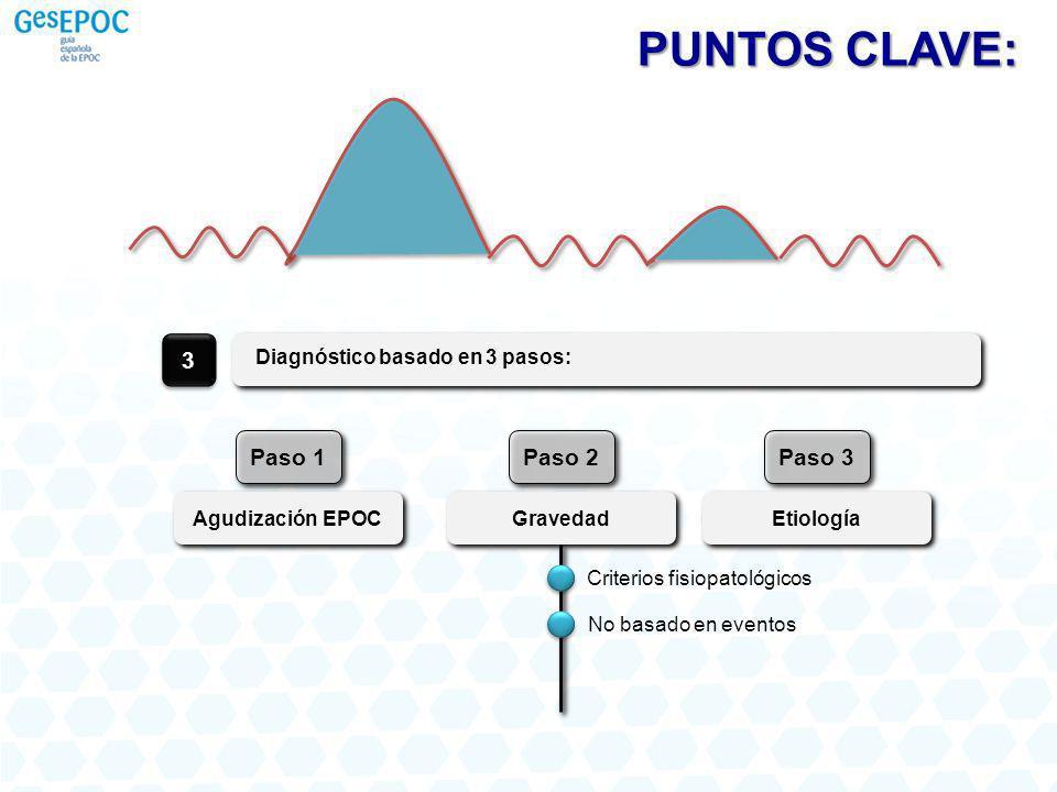 Diagnóstico basado en 3 pasos: 3 Agudización EPOC Paso 1 Gravedad Paso 2 Etiología Paso 3 PUNTOS CLAVE: Criterios fisiopatológicos No basado en evento
