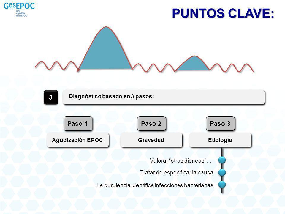 Diagnóstico basado en 3 pasos: 3 Agudización EPOC Paso 1 Gravedad Paso 2 Etiología Paso 3 PUNTOS CLAVE: Tratar de especificar la causa Valorar otras d