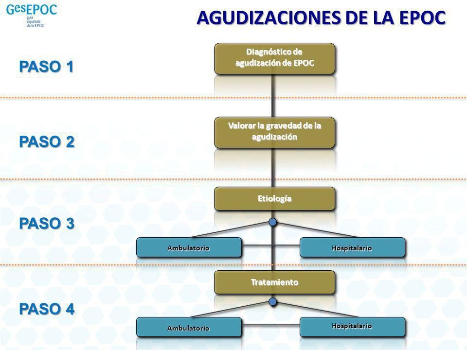 AGUDIZACIONES DE LA EPOC PASO 1 PASO 2 PASO 3 PASO 4 Diagnóstico de agudización de EPOC Valorar la gravedad de la agudización Etiología Ambulatorio Ho