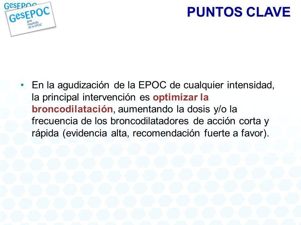 PUNTOS CLAVE En la agudización de la EPOC de cualquier intensidad, la principal intervención es optimizar la broncodilatación, aumentando la dosis y/o la frecuencia de los broncodilatadores de acción corta y rápida (evidencia alta, recomendación fuerte a favor).