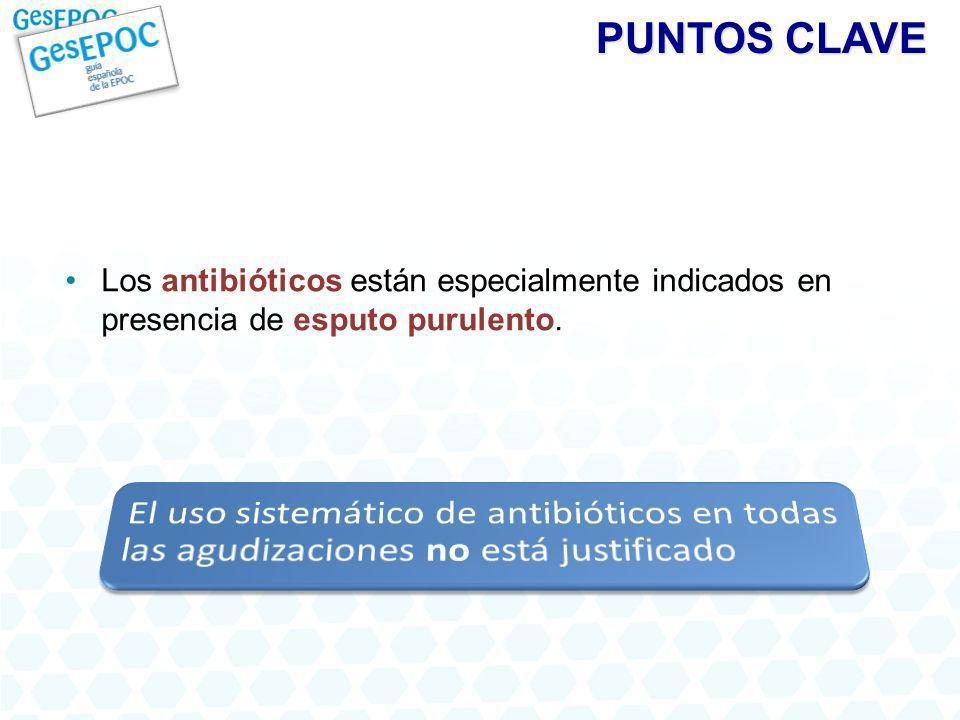 PUNTOS CLAVE Los antibióticos están especialmente indicados en presencia de esputo purulento.