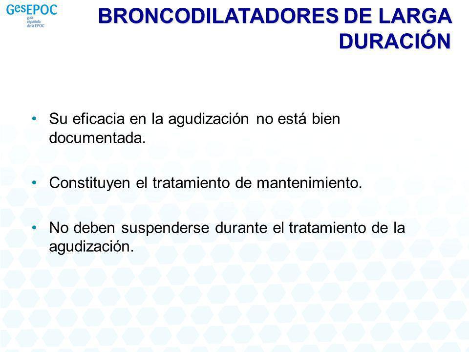 BRONCODILATADORES DE LARGA DURACIÓN Su eficacia en la agudización no está bien documentada.