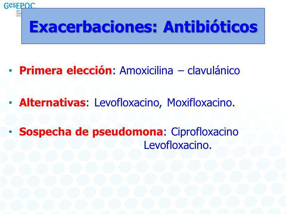 Exacerbaciones: Antibióticos Primera elección: Amoxicilina – clavulánico Alternativas: Levofloxacino, Moxifloxacino. Sospecha de pseudomona: Ciproflox