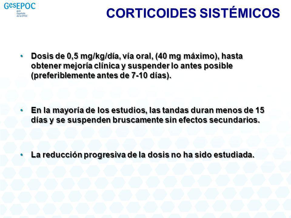 Dosis de 0,5 mg/kg/día, vía oral, (40 mg máximo), hasta obtener mejoría clínica y suspender lo antes posible (preferiblemente antes de 7-10 días).Dosi
