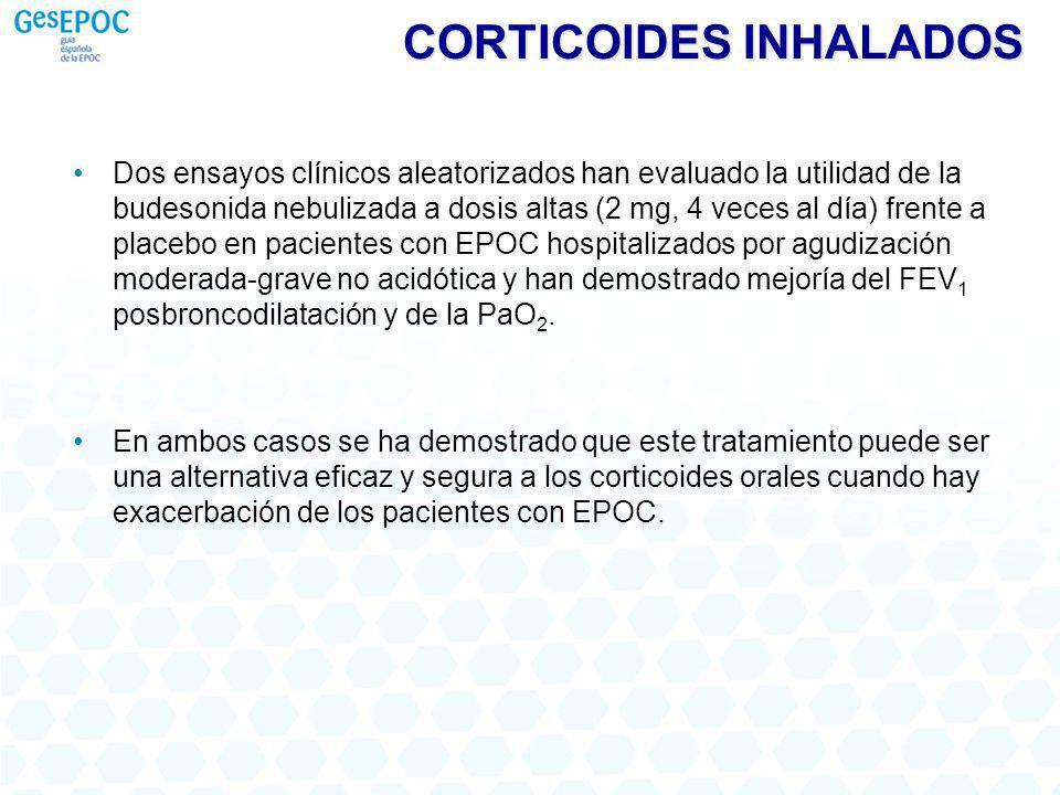 CORTICOIDES INHALADOS Dos ensayos clínicos aleatorizados han evaluado la utilidad de la budesonida nebulizada a dosis altas (2 mg, 4 veces al día) fre