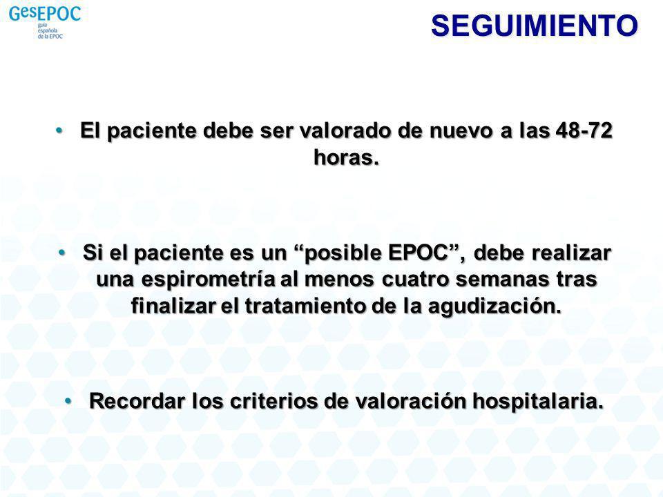 SEGUIMIENTO El paciente debe ser valorado de nuevo a las 48-72 horas.El paciente debe ser valorado de nuevo a las 48-72 horas.