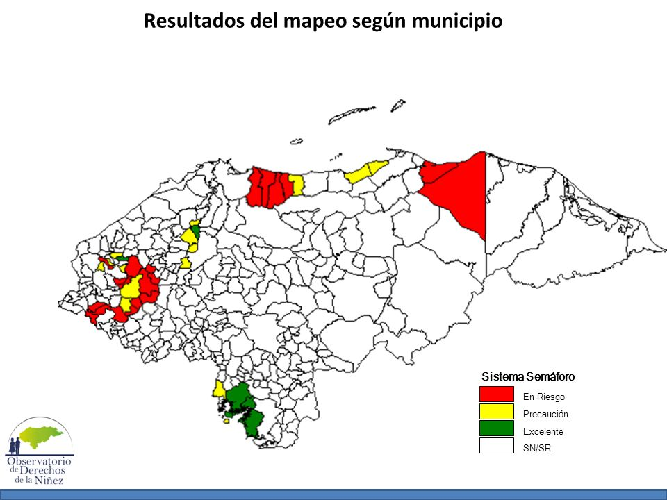 Resultados del mapeo según municipio Sistema Semáforo En Riesgo Precaución Excelente SN/SR
