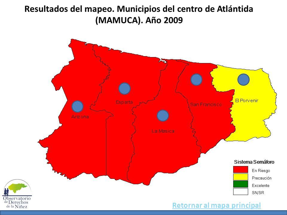 Resultados del mapeo. Municipios del centro de Atlántida (MAMUCA). Año 2009 Sistema Semáforo En Riesgo Precaución Excelente SN/SR Retornar al mapa pri