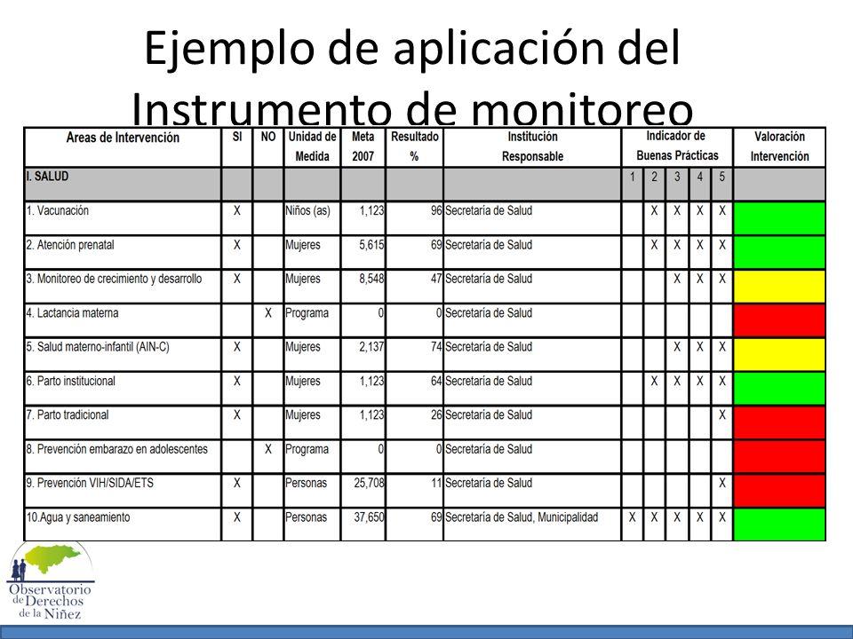 Ejemplo de aplicación del Instrumento de monitoreo