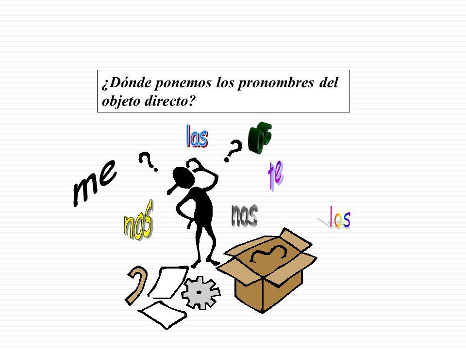 Los pronombres del objeto directo El objeto directo no tiene que ser repetido o mencionado constantemente, pues podemos usar pronombres que lo sustituyan: ME (cuando YO soy el objeto directo de la oración) TE (cuando TÚ eres el OD) LO (cuando ÉL, USTED (masculino), o algo singular masculino es el OD) LA (cuando ELLA, USTED (femenino), o algo singular femenino es el OD) NOS (cuando NOSOTROS somos el objeto directo de la oración) OS (cuando VOSOTROS lo sois…) LOS (cuando USTEDES (masc.), ELLOS, o algo plural masculino son el OD) LAS (cuando USTEDES (fem.), ELLAS, o algo plural femenino son el OD)