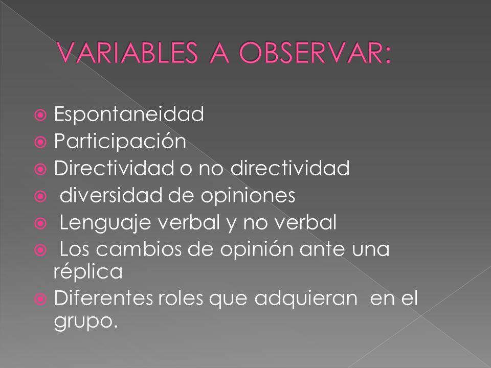 Espontaneidad Participación Directividad o no directividad diversidad de opiniones Lenguaje verbal y no verbal Los cambios de opinión ante una réplica