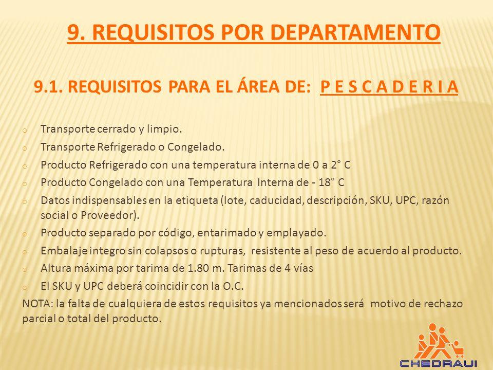 9.1.REQUISITOS PARA EL ÁREA DE: P E S C A D E R I A o Transporte cerrado y limpio.