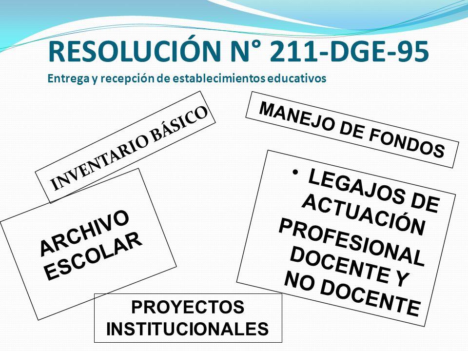 RESOLUCIÓN N° 211-DGE-95 Entrega y recepción de establecimientos educativos INVENTARIO BÁSICO ARCHIVO ESCOLAR MANEJO DE FONDOS LEGAJOS DE ACTUACIÓN PROFESIONAL DOCENTE Y NO DOCENTE PROYECTOS INSTITUCIONALES