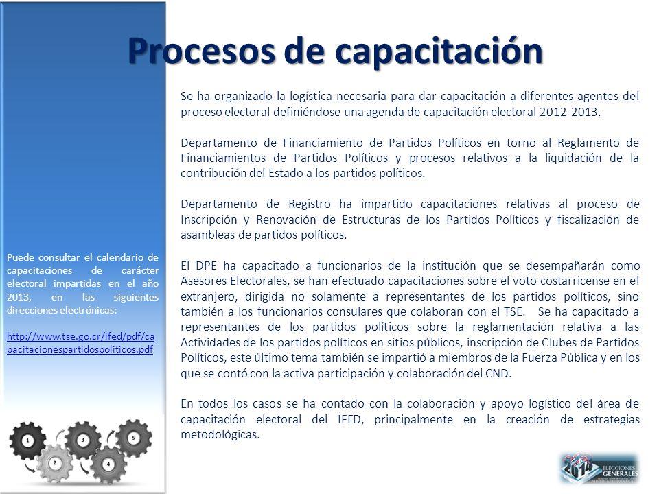 Procesos de capacitación Se ha organizado la logística necesaria para dar capacitación a diferentes agentes del proceso electoral definiéndose una agenda de capacitación electoral 2012-2013.