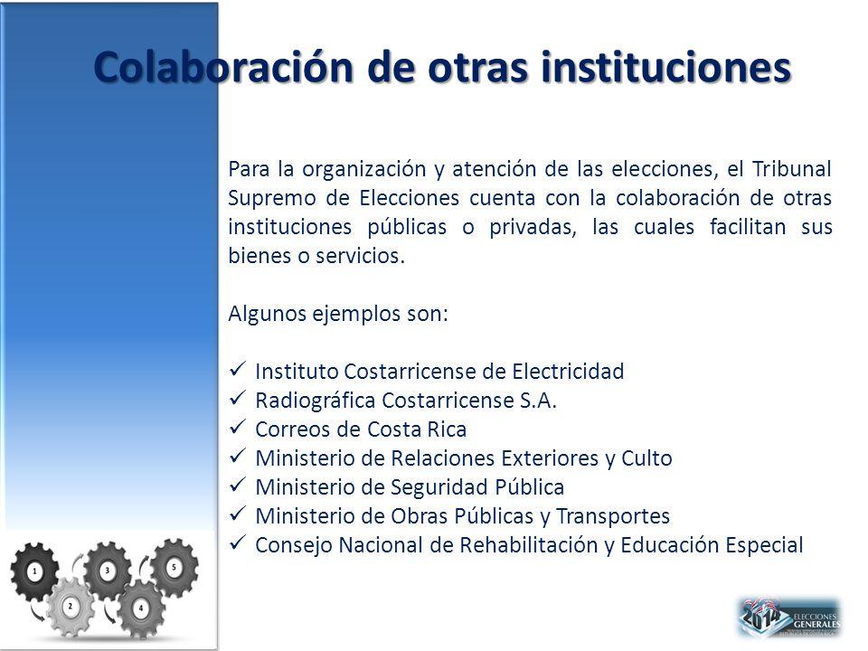 Colaboración de otras instituciones Para la organización y atención de las elecciones, el Tribunal Supremo de Elecciones cuenta con la colaboración de otras instituciones públicas o privadas, las cuales facilitan sus bienes o servicios.