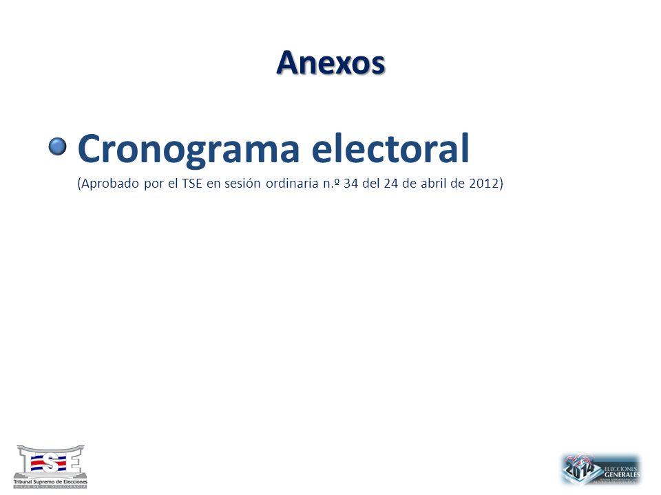Anexos Cronograma electoral (Aprobado por el TSE en sesión ordinaria n.º 34 del 24 de abril de 2012)