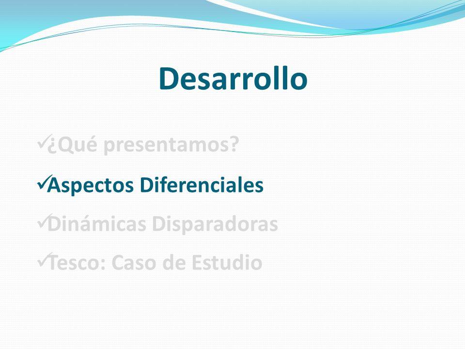 Desarrollo ¿Qué presentamos? Aspectos Diferenciales Dinámicas Disparadoras Tesco: Caso de Estudio