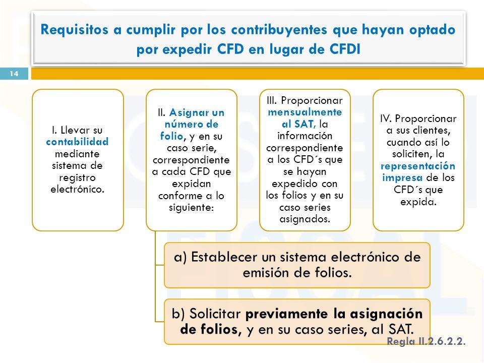 I. Llevar su contabilidad mediante sistema de registro electrónico.