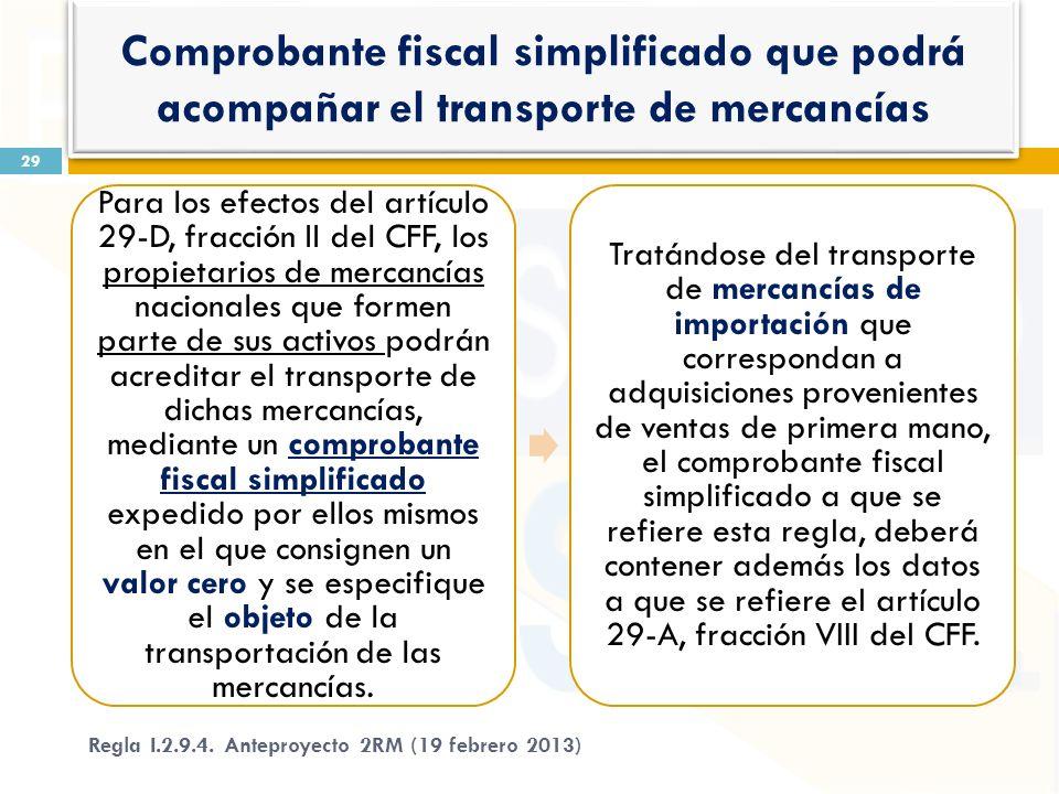 Para los efectos del artículo 29-D, fracción II del CFF, los propietarios de mercancías nacionales que formen parte de sus activos podrán acreditar el transporte de dichas mercancías, mediante un comprobante fiscal simplificado expedido por ellos mismos en el que consignen un valor cero y se especifique el objeto de la transportación de las mercancías.