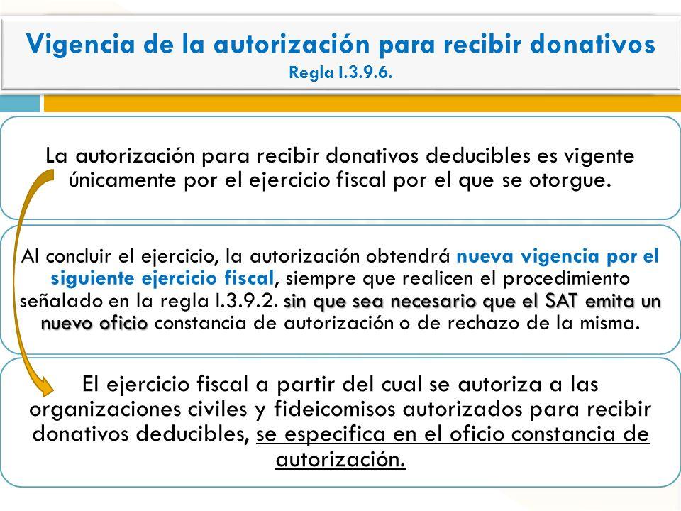 La autorización para recibir donativos deducibles es vigente únicamente por el ejercicio fiscal por el que se otorgue. sin que sea necesario que el SA