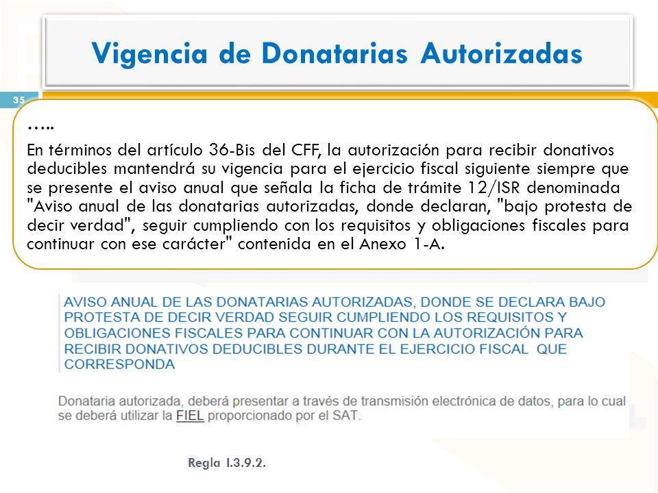 Vigencia de Donatarias Autorizadas ….. En términos del artículo 36-Bis del CFF, la autorización para recibir donativos deducibles mantendrá su vigenci