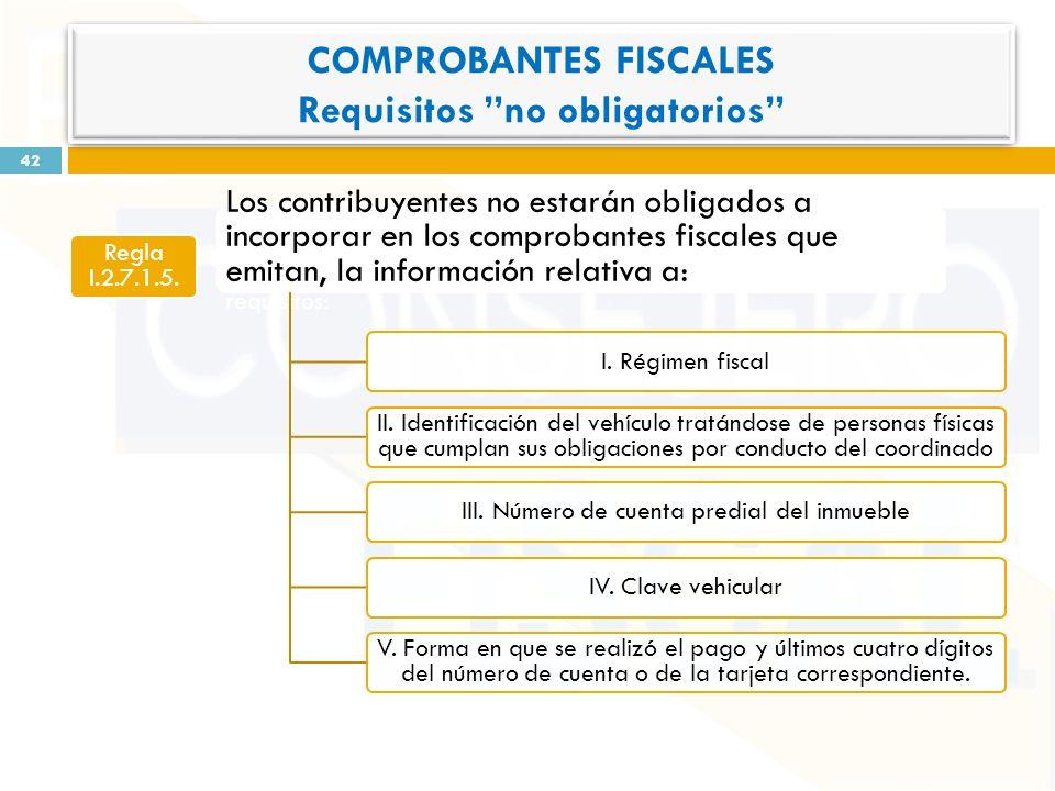 Regla I.2.7.1.5. Los contribuyentes no estarán obligados a incorporar en los comprobantes fiscales que emitan, la información relativa a: a los siguie