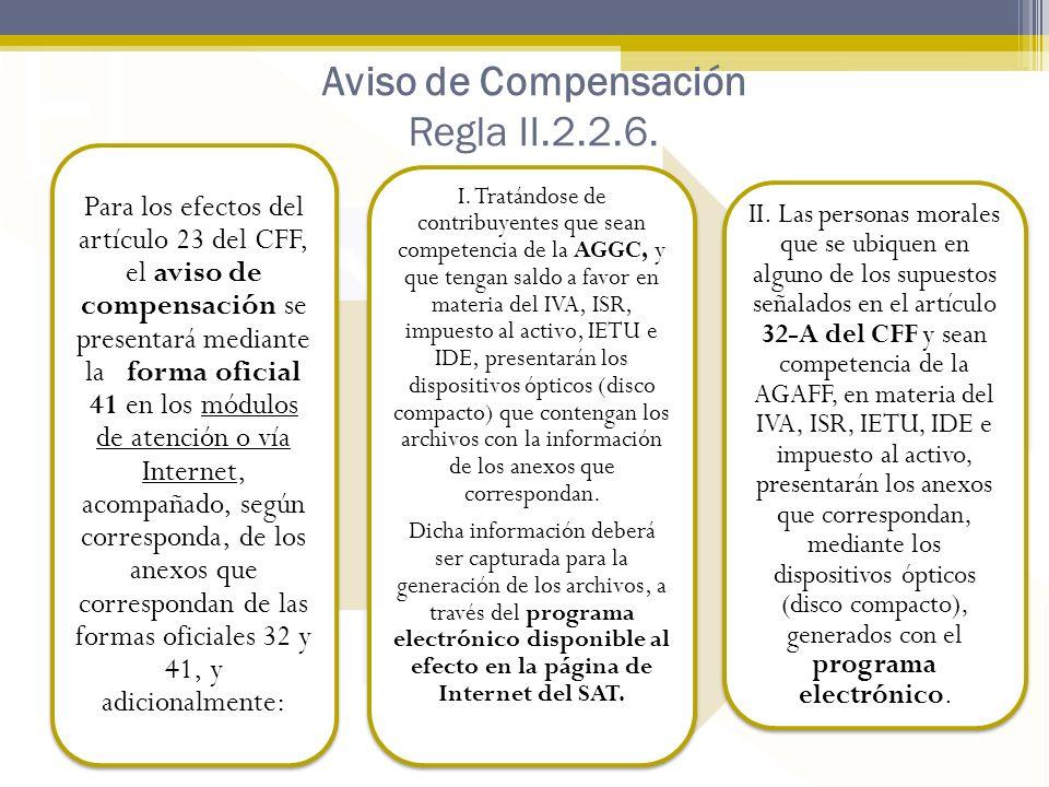 Aviso de Compensación Regla II.2.2.6.