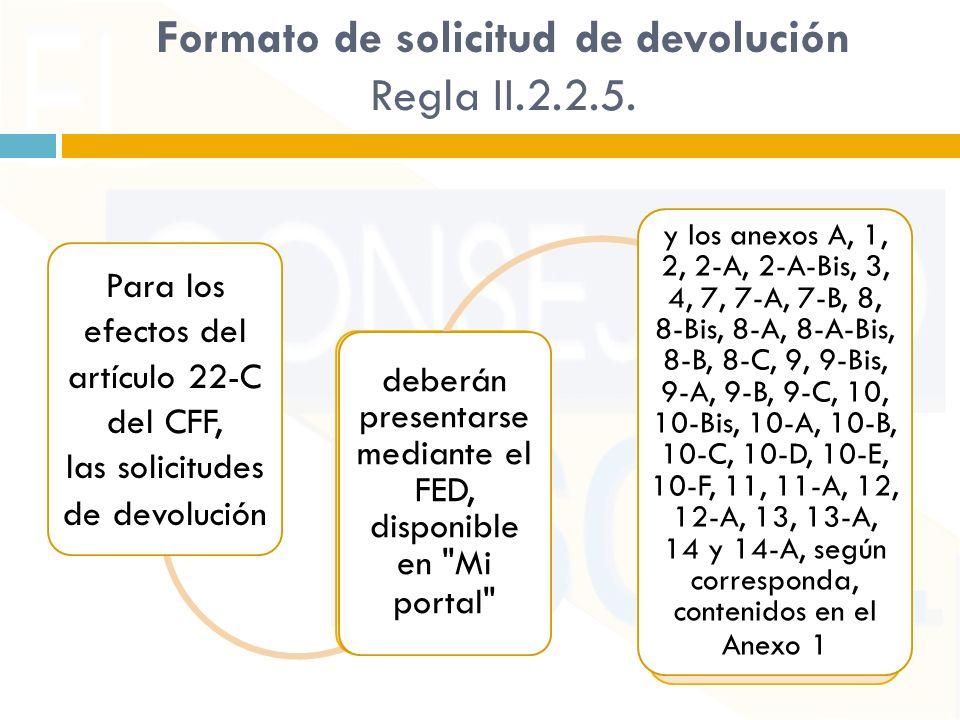 Formato de solicitud de devolución Regla II.2.2.5.