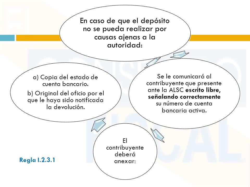 En caso de que el depósito no se pueda realizar por causas ajenas a la autoridad: Se le comunicará al contribuyente que presente ante la ALSC escrito libre, señalando correctamente su número de cuenta bancaria activa.