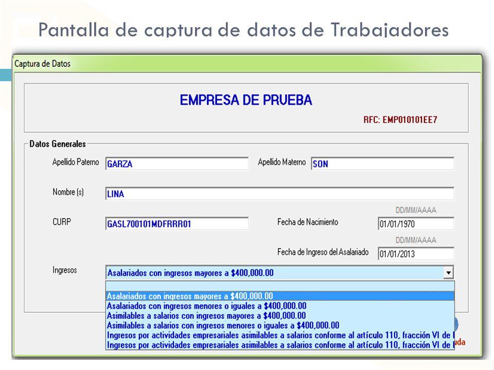 Pantalla de captura de datos de Trabajadores
