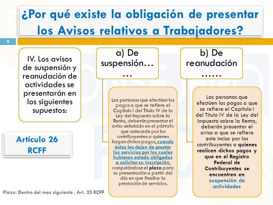 IV. Los avisos de suspensión y reanudación de actividades se presentarán en los siguientes supuestos: a) De suspensión… … Las personas que efectúen lo