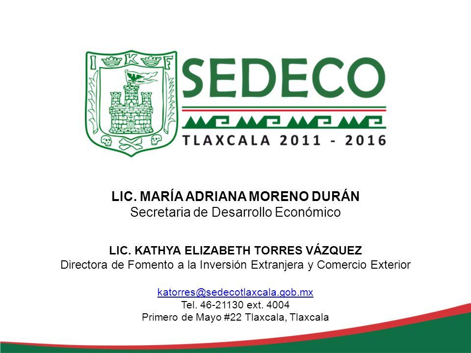 LIC. MARÍA ADRIANA MORENO DURÁN Secretaria de Desarrollo Económico LIC. KATHYA ELIZABETH TORRES VÁZQUEZ Directora de Fomento a la Inversión Extranjera