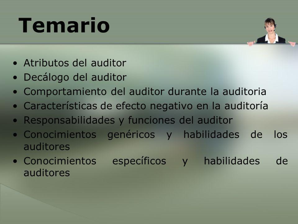 Atributos del auditor Decálogo del auditor Comportamiento del auditor durante la auditoria Características de efecto negativo en la auditoría Responsa