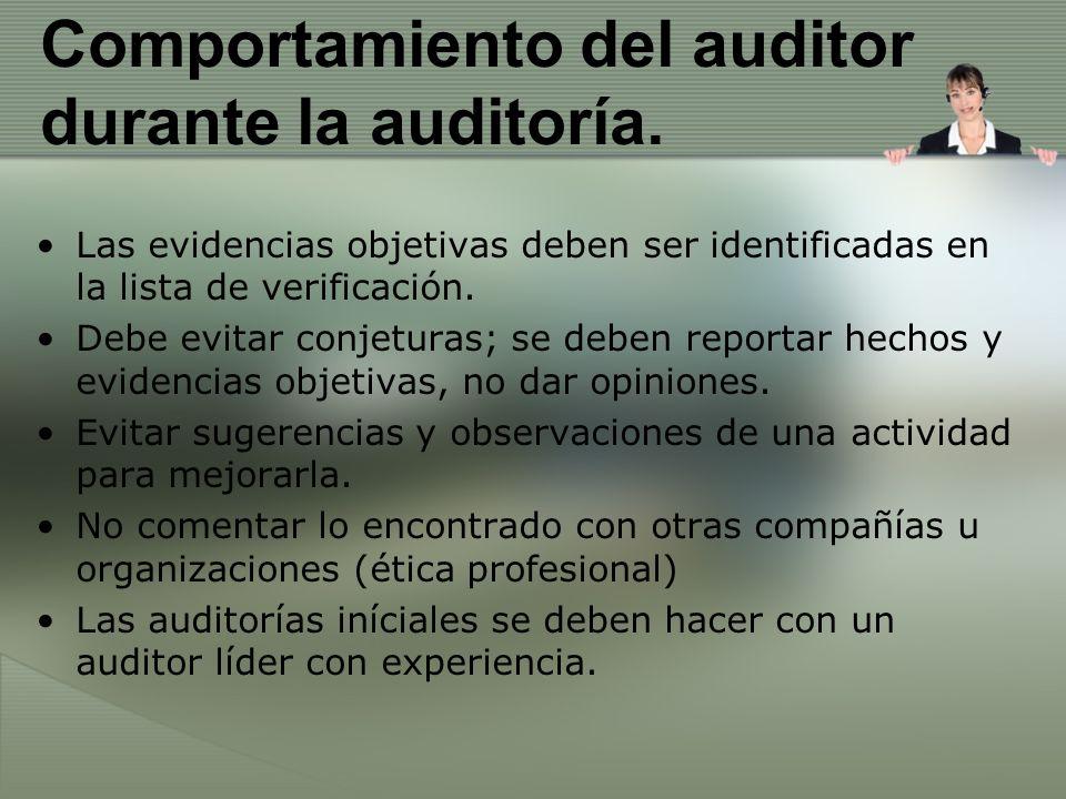 Comportamiento del auditor durante la auditoría. Las evidencias objetivas deben ser identificadas en la lista de verificación. Debe evitar conjeturas;