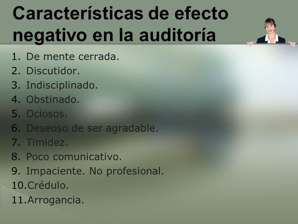 Características de efecto negativo en la auditoría 1.De mente cerrada. 2.Discutidor. 3.Indisciplinado. 4.Obstinado. 5.Ociosos. 6.Deseoso de ser agrada