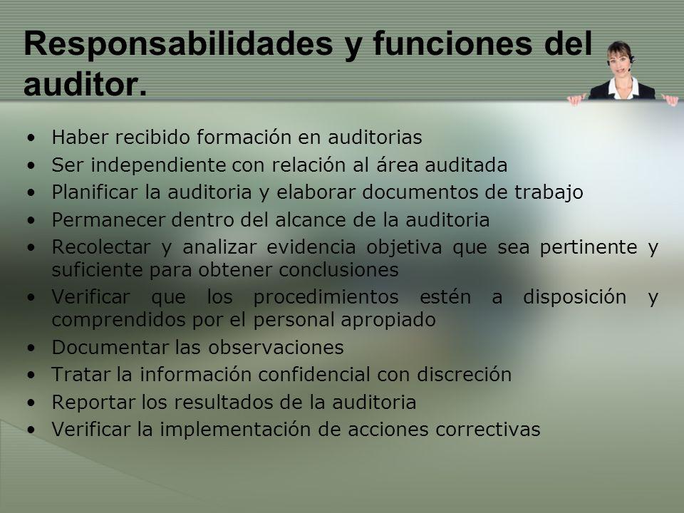 Responsabilidades y funciones del auditor. Haber recibido formación en auditorias Ser independiente con relación al área auditada Planificar la audito